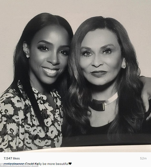 Like old times: Kelly's former Destiny's Child band members weren't the only famous face in attendance. Beyonce's mother Tina Knowles, 62, was also a party guest