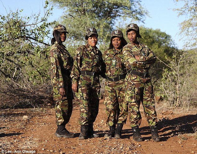 Responsibility: Every morning at 5am, the Mambas (pictured) begin their 12 mile long patrol of the Balule reserve to look for poachers and help the animals trapped in their snares