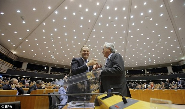 Donald Tusk, pictured left with commission president Jean-Claude Juncker at the European Parliament today, backed the Prime Minister's suggestion that a vote to leave would be final.