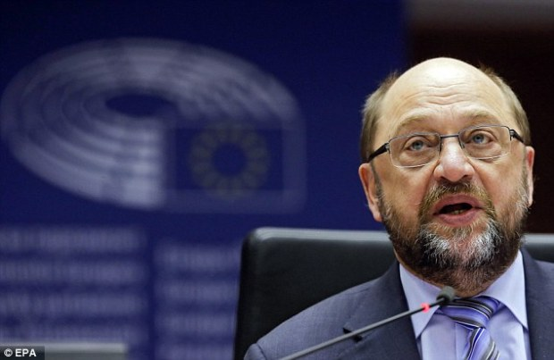 European Parliament president Martin Schulz, pictured in Brussls today, has suggested a Brexit vote could after all result in fresh talks and a second referendum.