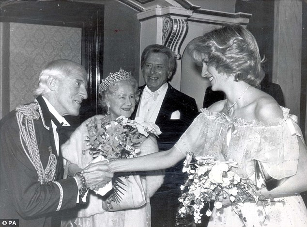Savile acts as doorman at London's Victoria Palace Theatre for the arrival of the Princess of Wales in 1984
