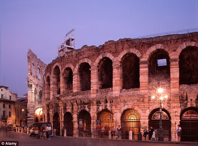 Officials desperate to prevent the 'decorum of the city', which includes the Verona Arena (above), disappearing have passed a ruling that also prohibits any new restaurants from selling 'ethnic' food