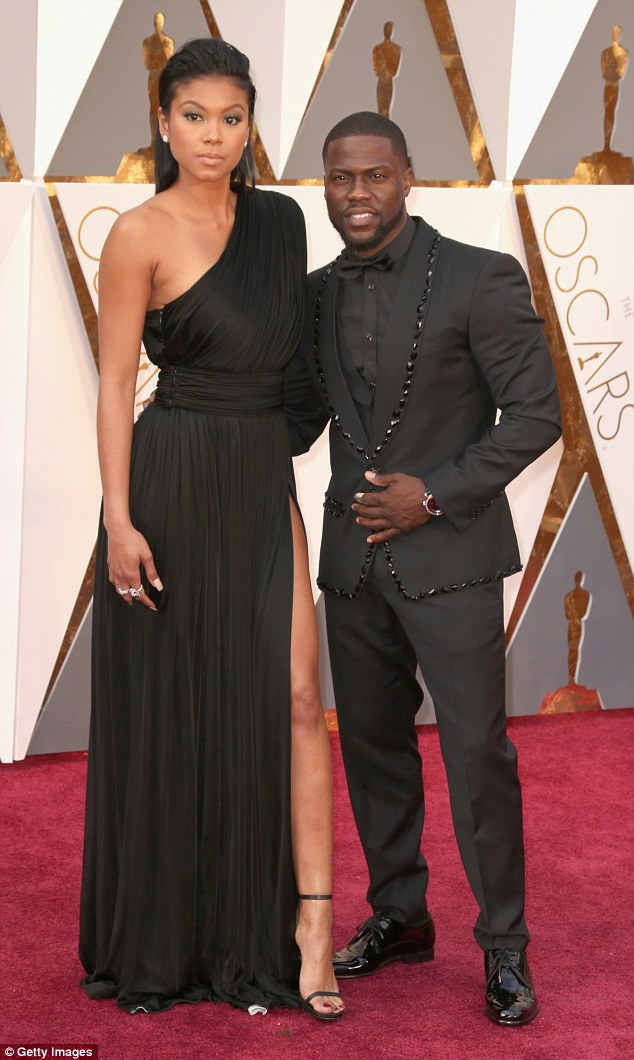 Oscars dream: Kevin looked relaxed as he walked the red carpet with his fiancee