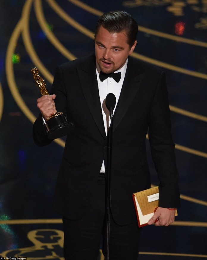 Platform:'Climate change is real,' said DiCaprio as he used his acceptance speech to deliver a lecture on the environment
