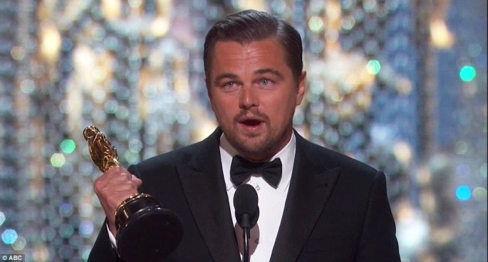 Finally: Leonardo DiCaprio used his Oscar win for Best Actor to deliver a lecture on climate change at the Academy Awards on Sunday night