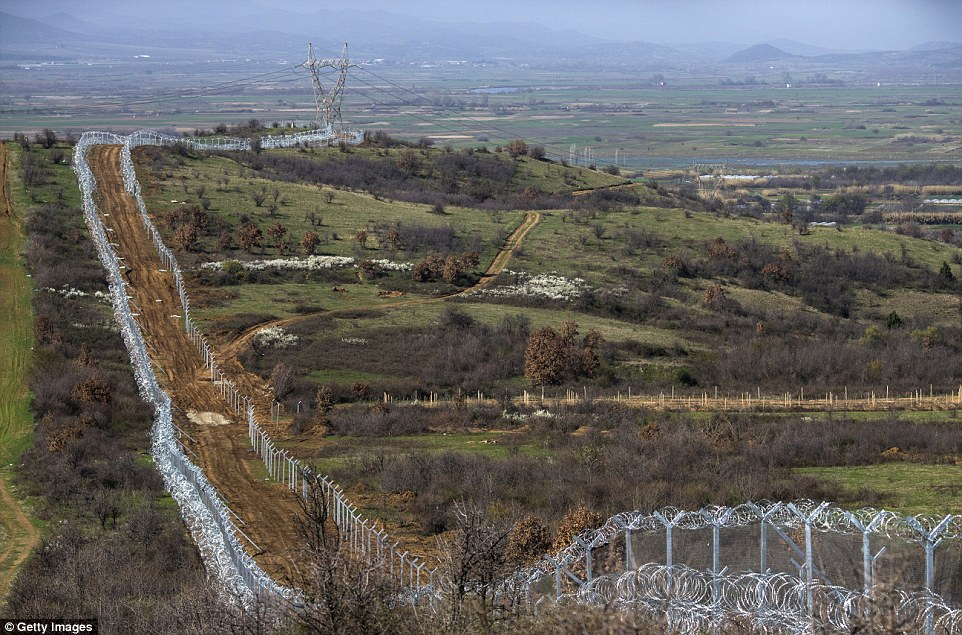 A colossal wall of razor wire and thick fencing now stretches along the Greek-Macedonian border near Idomeni, Greece