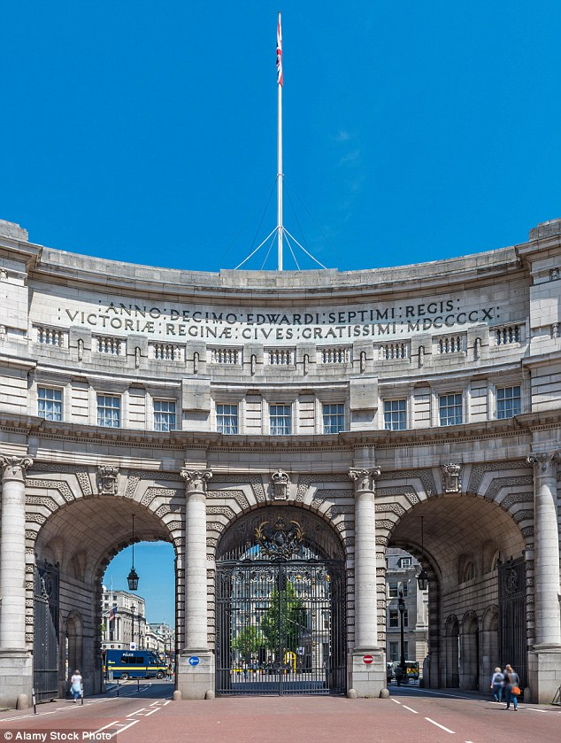 Admiralty House, home to Admiralty Arch (pictured), overlooks Whitehall and The Mall at the tourist hotspot of Trafalgar Square and is one of the government buildings that were transferred to a £200million Islamic bond scheme in 2014 and subsequently must operate under the code of Sharia law