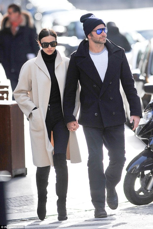 Fashionista: Enjoying a dreamy getaway in the world's chicest destination, Irina fashioned a look that was exactly that in a fitted black turtleneck and skinny jeans