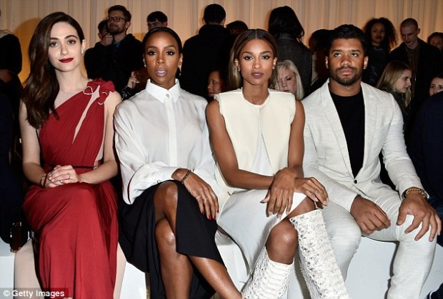Sitting pretty: Kelly was seated besideEmmy Rossum, Ciara andRussell Wilson