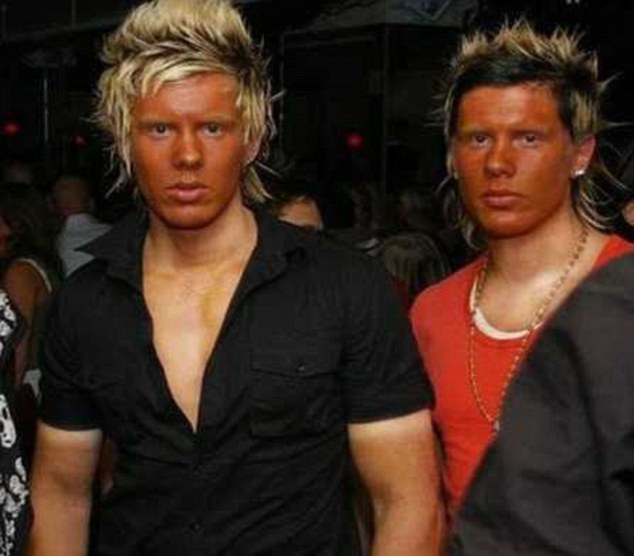 Don't save time by just tanning your face: Two brothers sport matching peroxide quiffs, orange faces and strikingly pale chests