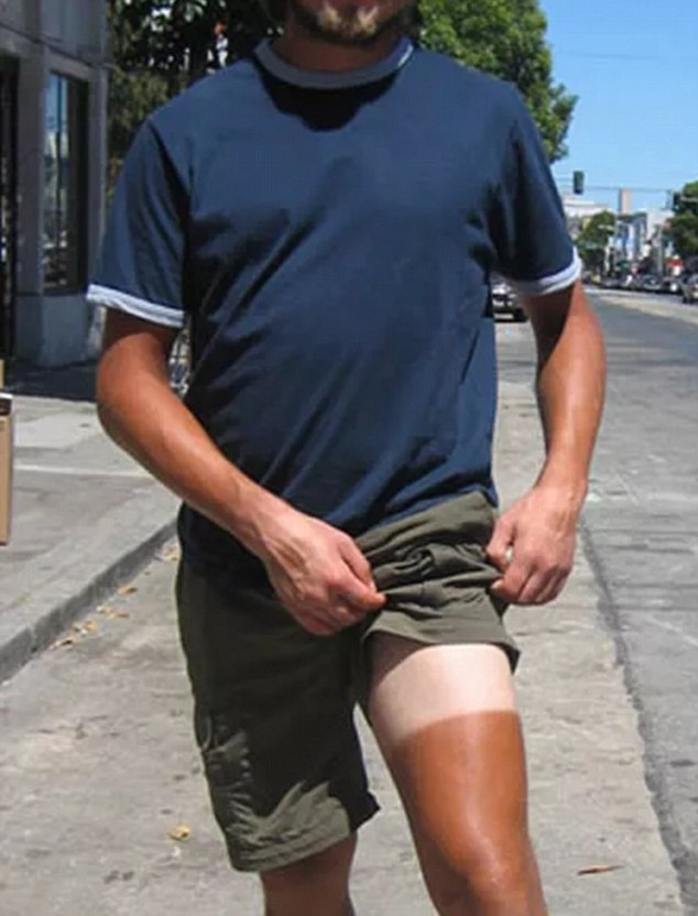 This man thought he could get away with going for a half-leg spray tan, but after he exposes his thigh a sharp contrast is visible