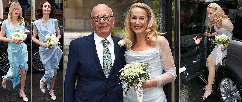 As filhas de Jerry Hall fazer damas de honra perfeito para seu casamento com Rupert Murdoch