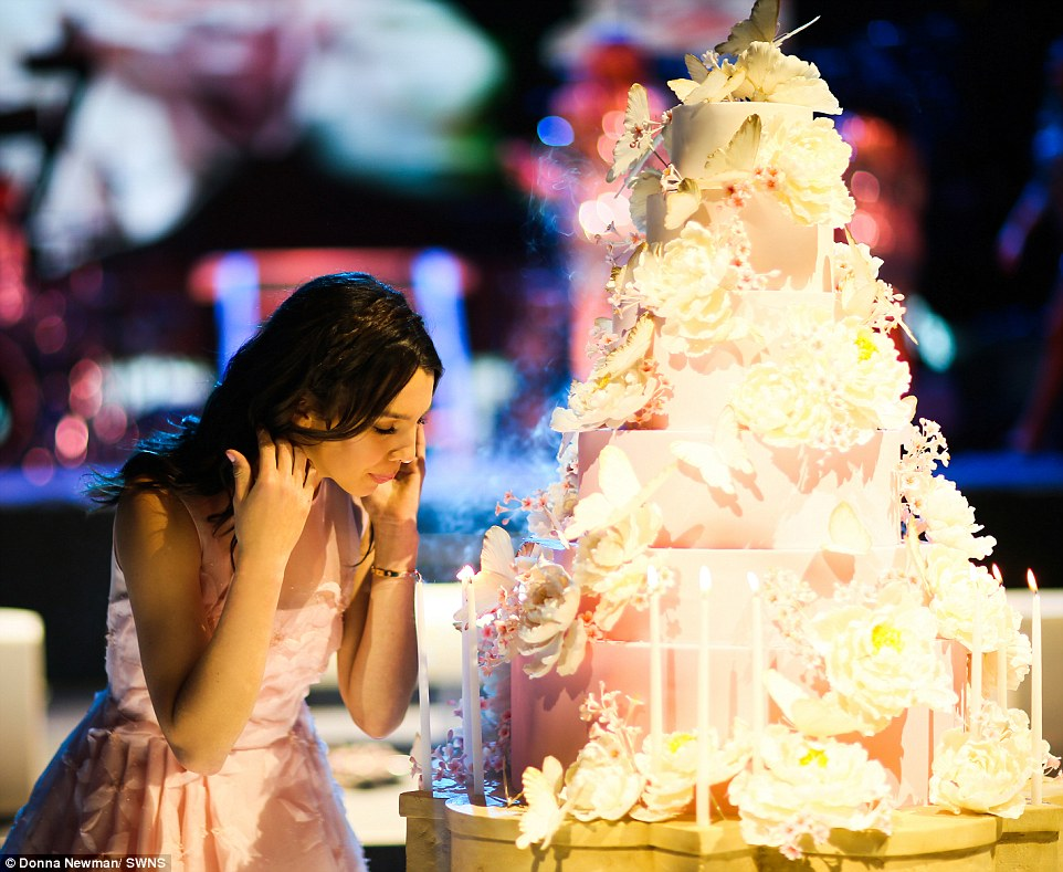 Spectacular: The party, for Maya, pictured with her lavish birthday cake, in San Antonio featured performances by Pitbull and Nick Jonas