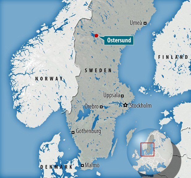 Influx: Östersund, where the string of sex attacks have occurred, is located in central Sweden (illustrated), 350 miles north west of Stockholm, and has a population of just 44,000
