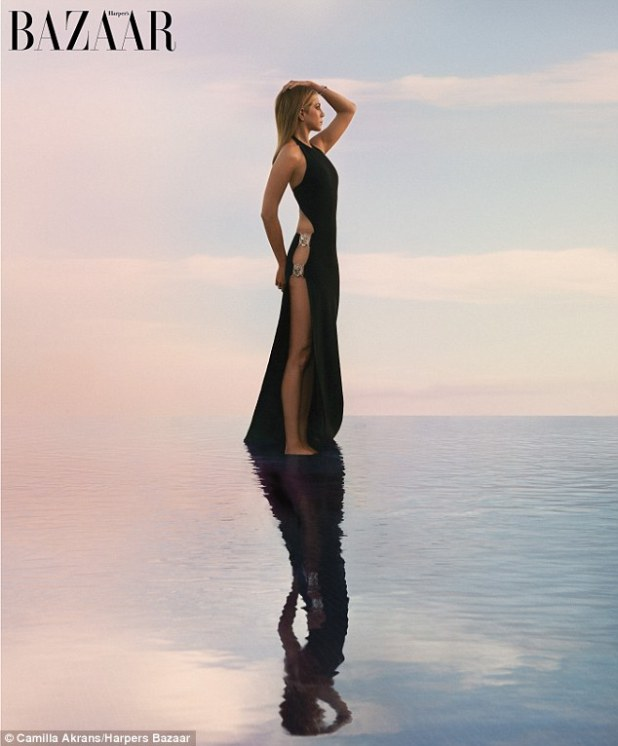 A stunning sight: Jennifer Aniston talks about married life with Justin Theroux in the new issue of Harper's Bazaar, and also posed for a beautiful photo shoot for the magazine