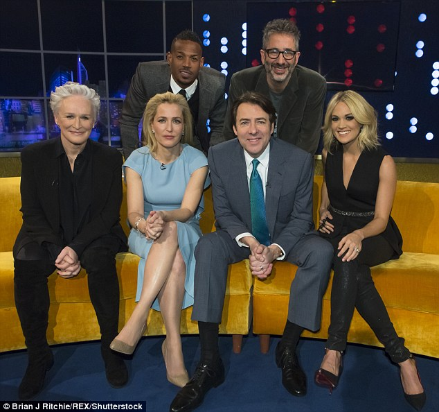 Panel assemble: Popular chat-show host Jonathan is joined by (from left to right) Glenn Close, Gillian Anderson, Marlon Wayans, David Baddiel and Carrie Underwood on the latest episode