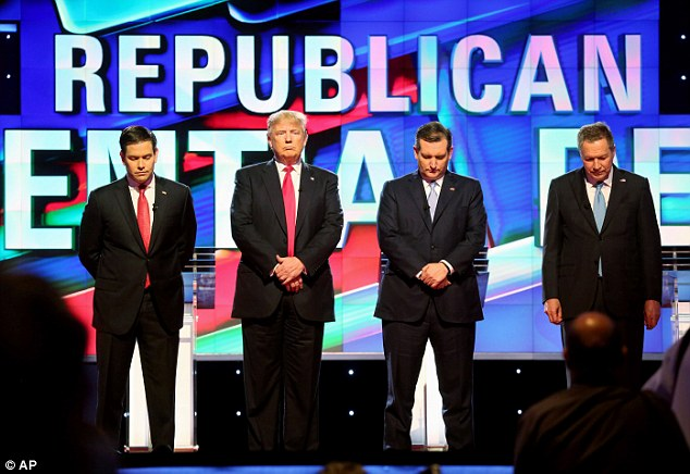 The Republican presidential candidates, from left, Marco Rubio, Donald Trump, Ted Cruz and John Kasich stand for a moment of silence for former first lady Nancy Reagan