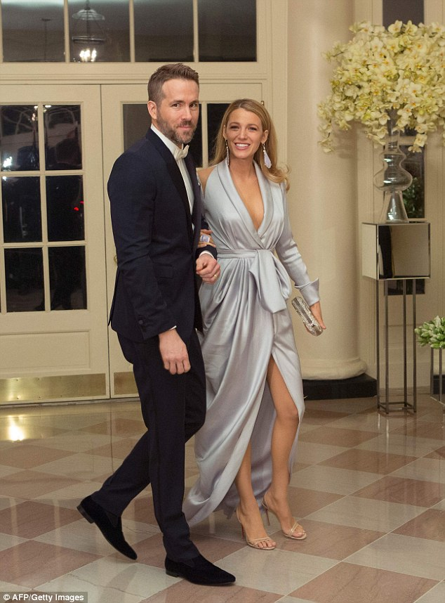 Reynolds, who was born in Vancouver, attended Thursday's dinner at the White House with his wife of three and a half years, actress Blake Lively (pictured)