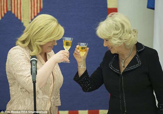 Camilla and President Grabar-Kitarović celebrated the royal visit by clinking glasses at the dinner