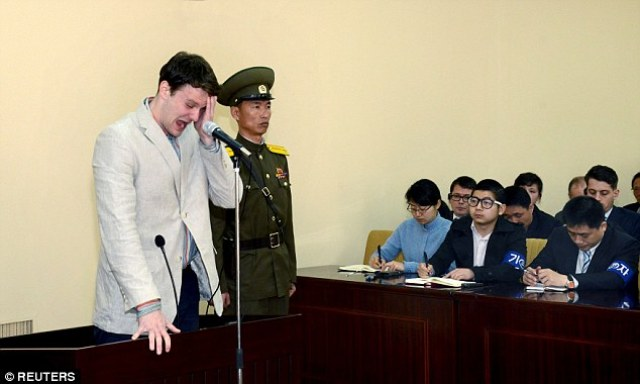 Emotional: Otto Warmbier cries at court in an undisclosed location in North Korea