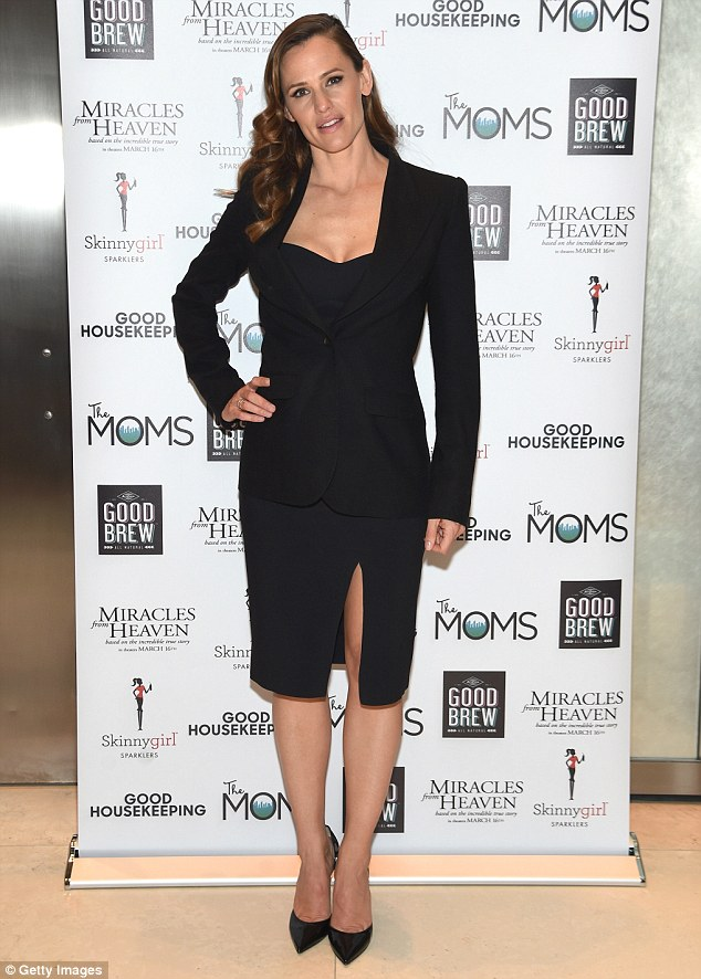 Showstopper: Jennifer Garner stunned in a black dress and blazer while at a screening of her latest film, Miracles From Heaven