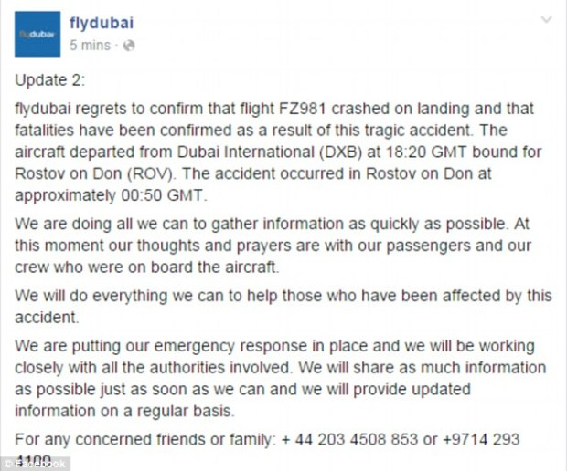 FlyDubai provided the above statement via Facebook around 11:40pm ET confirming that FZ981 crashed on landing