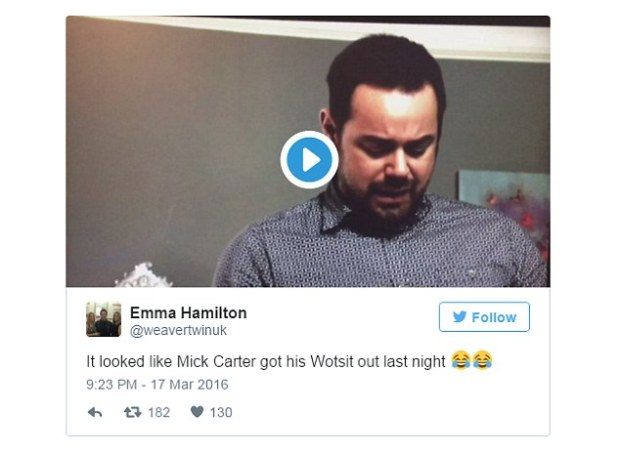 Funny: One fan posted a screen grab with the caption 'emotional episode but very unfortunate angle', while another added 'the cameraman must be as drunk as Phil'
