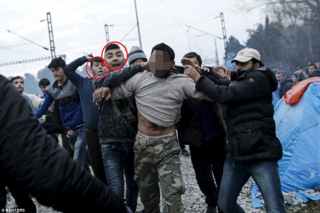 Mr Sedo, pictured with Mohammed Al-Ahmad, 19, from Syria (both circled),  heard a father shout 'he's trying to rape my daughter' and rushed to help