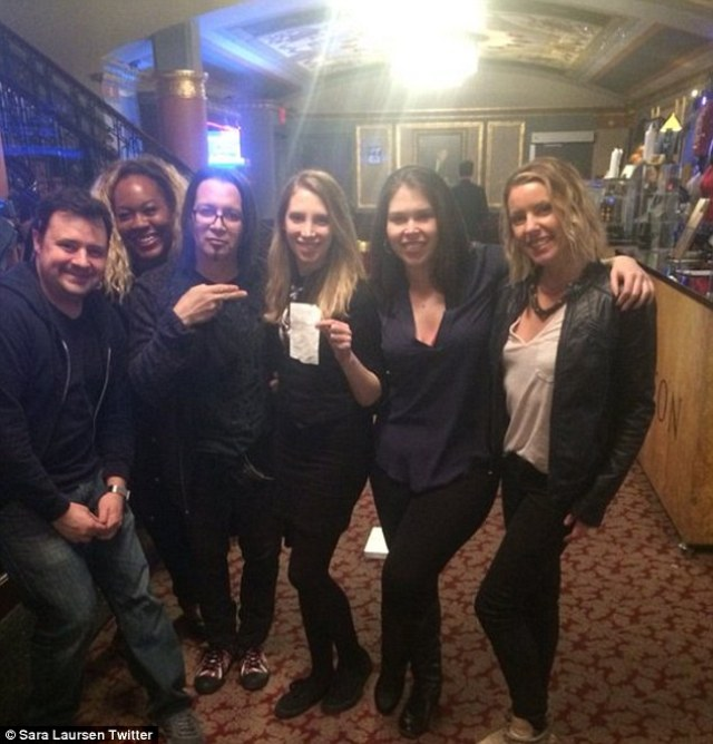 Delighted! One of the staff wrote 'From the bartenders Hamilton Musical thank you Amy Schumer for making our night!'