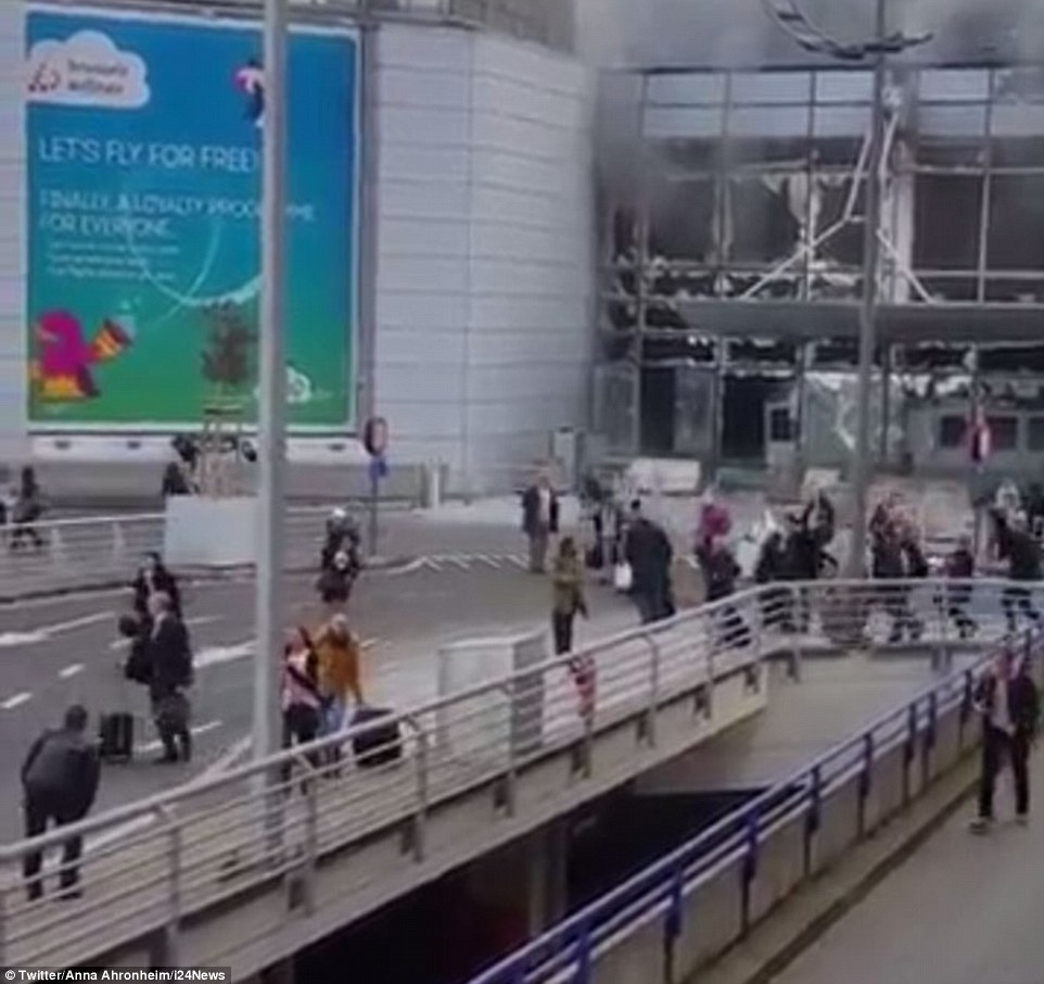Video shows terrified passengers running for their lives out of the terminal