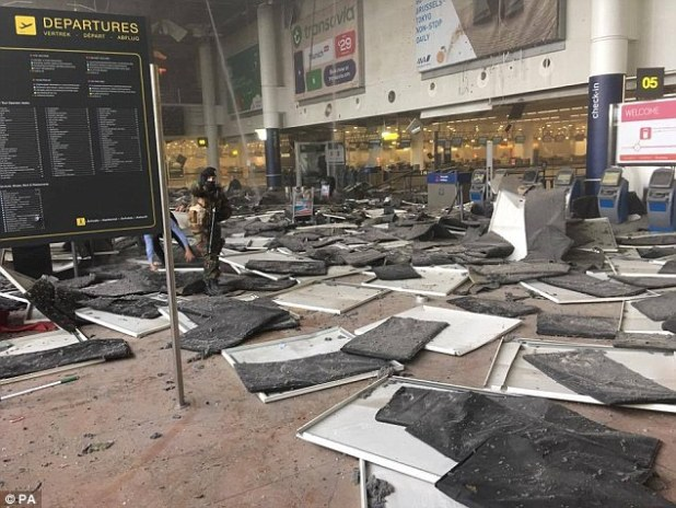 Airports around Europe were on high alert today after two explosions shook Brussels airport (pictured) in a suspected suicide bombing