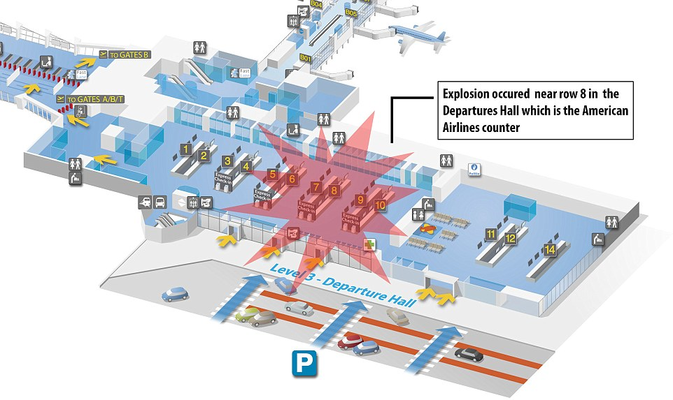 Two blasts detonated near the American Airlines check-in desk at Brussels Airport at 8am (7am GMT) in a suspected suicide bombing