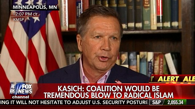 'The president must return home immediately and get to work with our allies to respond with strength against the enemies of the west,' John Kasich said yesterday