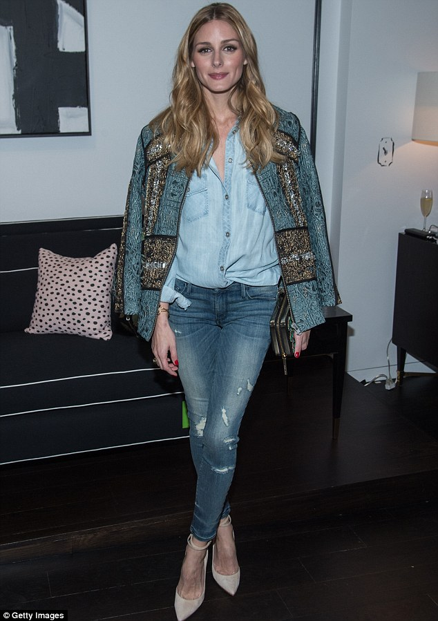 Sheer jean-ius: Olivia Palermo showed off her knockout body at theopening of a new Kate Spade pop-up shop in New York on Tuesday