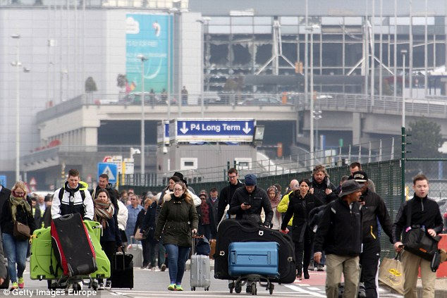 Some 10 people died and scores more were wounded in the twin bombings at Brussels airport (pictured)