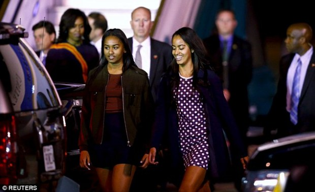 Obama's daughters, Sasha (left) and Malia, are avid fans of Messi's footballing ability too