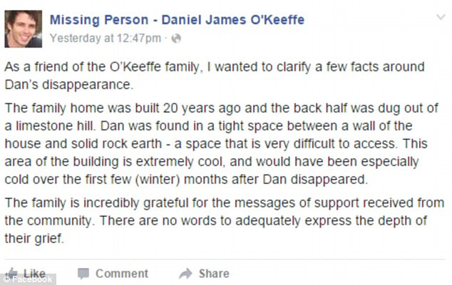 The post on the Missing Person - Daniel James O'Keeffe Facebook page, detailing where his remains were found at the family home in Geelong