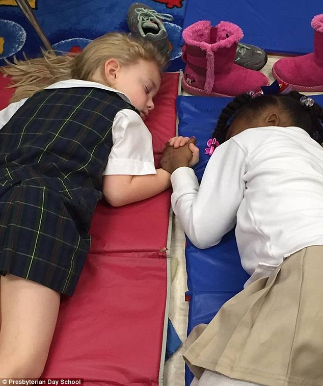 Friendship: This picture of Lucy Harris Jackson, left, and Samiyah Moore, right, has prompted outpouring of emotion online