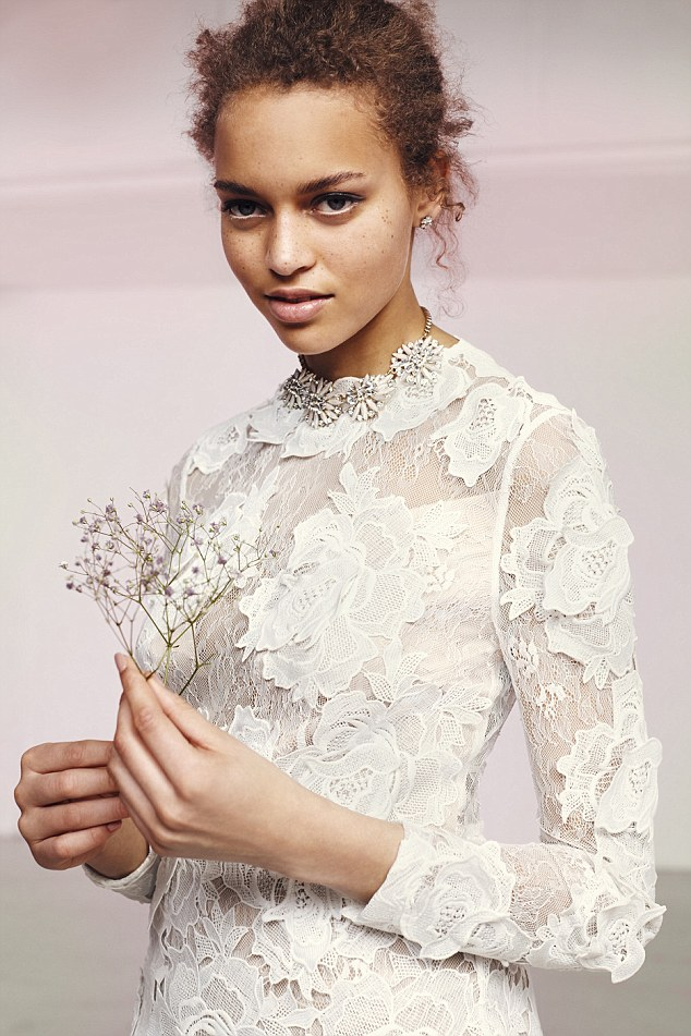 Women can now buy a gown for well under £100 ¿ and retailers boast they can find an entire look for less than £400. Pictured: This lace bridal gown from ASOS costs £250 - a fraction of the average wedding dress price