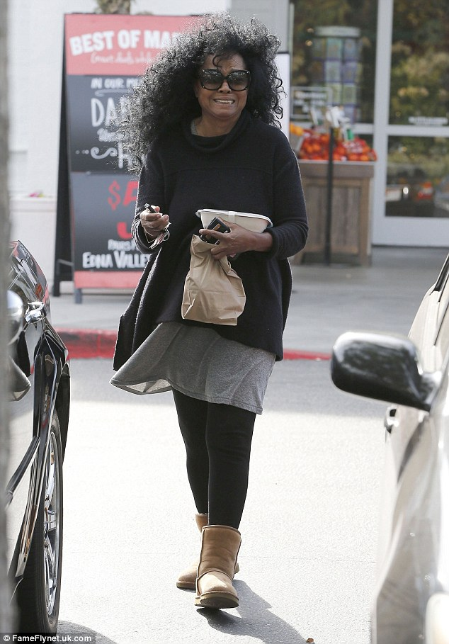 All smiles: Diana Ross, 71, looked radiant as she stepped out in West Hollywood on Sunday to pick up some groceries from Bristol Farms