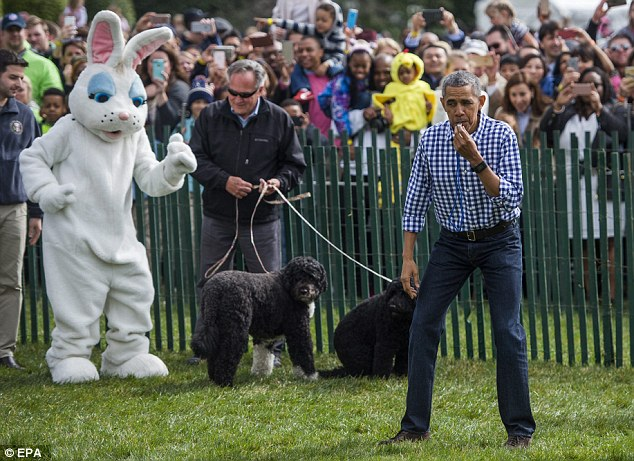 Meanwhile the president was hosting the White House's annual Easter Egg Roll just meters away