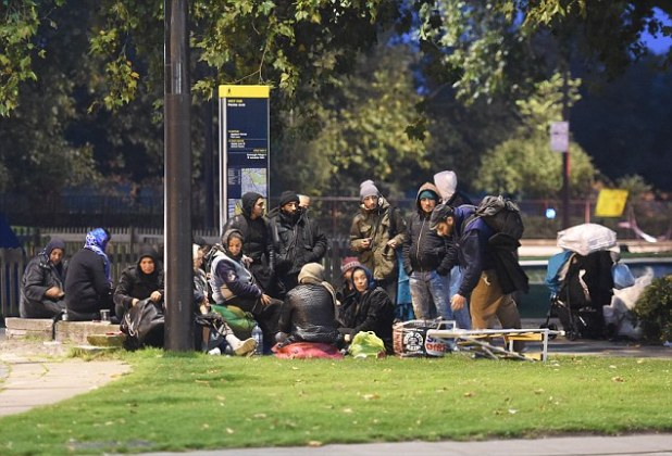 In 2014 alone, 287,000 people from within the EU - many from Eastern Europe - settled in Britain. Pictured are Romanian migrants camping out in Marble Arch