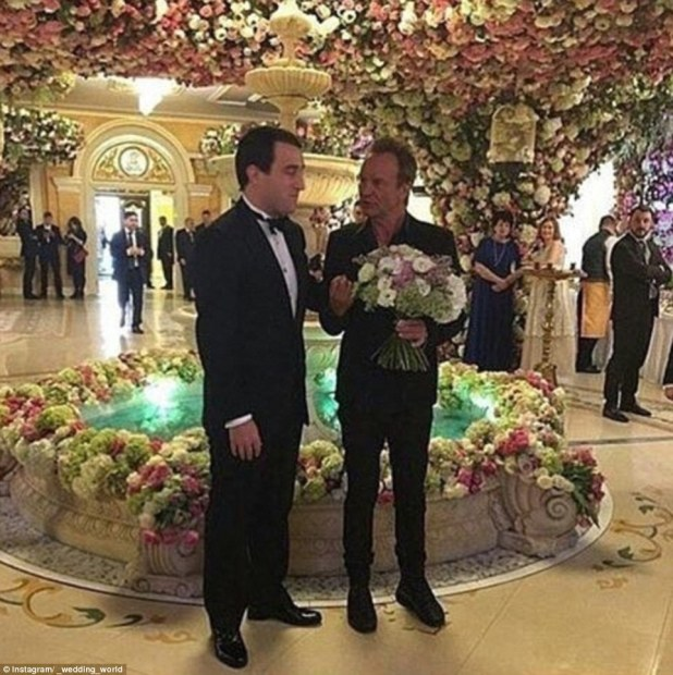 Sting was seen clutching a bunch of fresh flowers as he chatted with the Harrow and Oxford-educated groom during the celebrations
