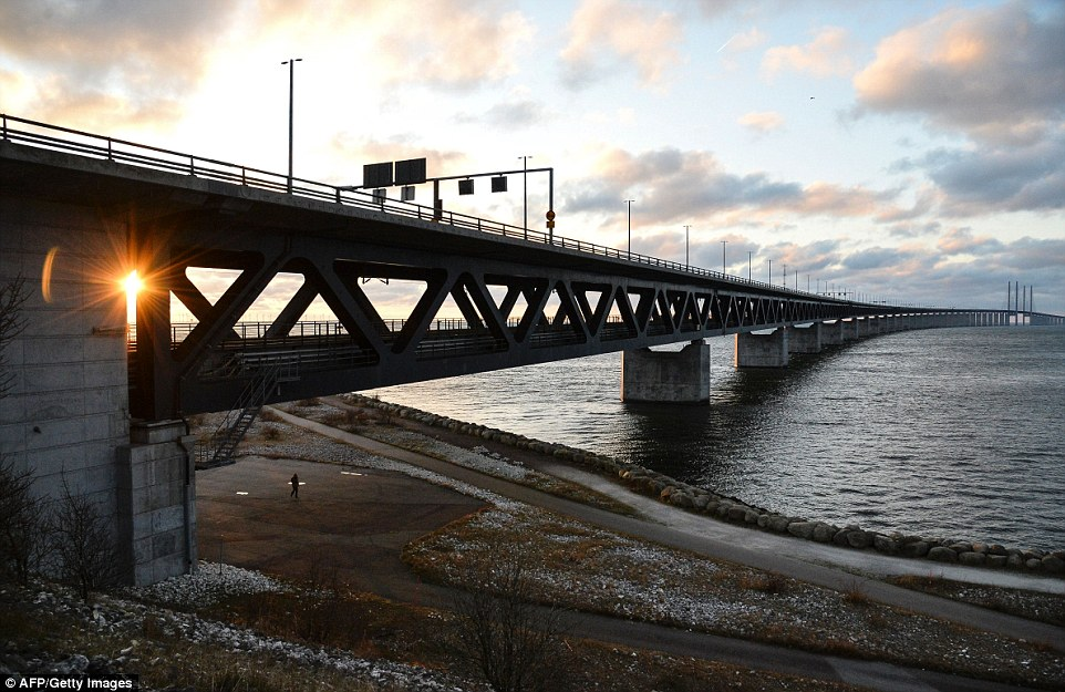 Checks: Sweden introduced passport checks on the Öresund Bridge between Sweden and Denmark, in Malmo, Sweden, in a bid to deal with the country's immigration crisis. At its height last year 10,000 migrants a week used the bridge and ferry to reach Sweden