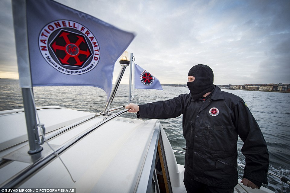 Patrol: Far right group Nationell Framtid voluntarily monitors the strait of Öresund, a 5km stretch of water between Denmark and Sweden for illegal migrants ¿ who they say are entering Sweden with the help of organised criminal gangs and left wing Danish ¿do-gooders'