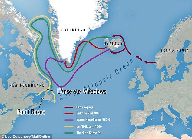 El nuevo asentamiento vikingo fue encontrado en el borde del punto Rosee en Terranova (ilustrado arriba) a 400 millas al sur de otro sitio en L'Anse aux Meadows. Sugieren que el dominio de los vikingos de los mares les permitió aventurarse a América del Norte (ilustrado en el mapa)