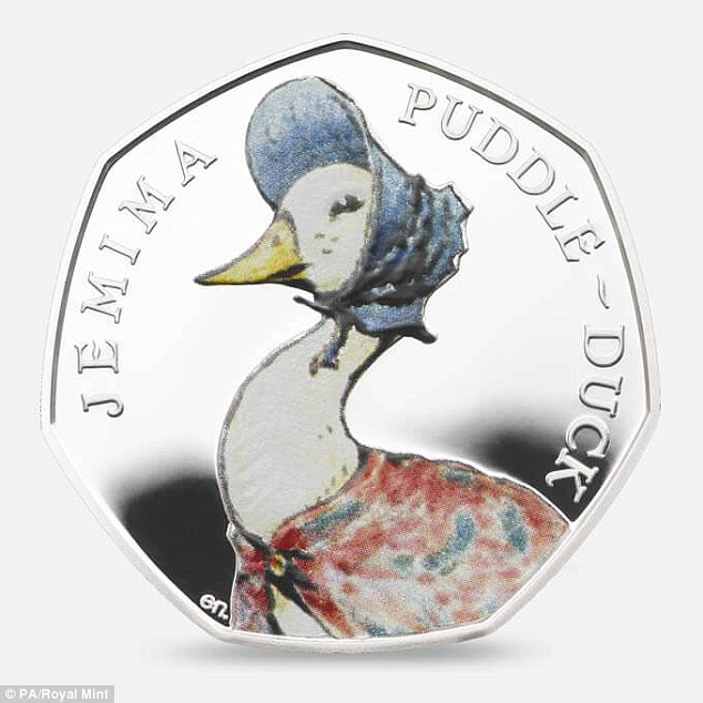 Other expensive coins include one with Beatrix Potter's Jemima Puddle-Duck, some of which were sold on eBay for over £ 106