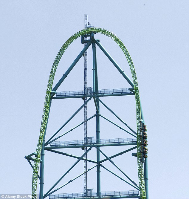 Riders on Kingda Ka hurtle to a height of 460 feet above the park, before they plummet back down