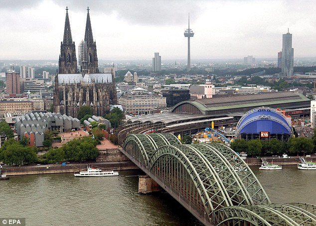 The night before the alleged discussion, hundreds of women had been sexually molested and robbed by marauding gangs in Cologne (pictured)