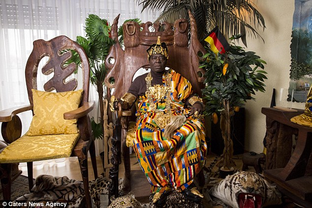 Regal:King Bansah (pictured) leads two very contrasting lives as a part-time monarch and a full-time monarch